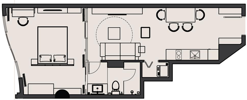 Thiết kế Căn hộ 1 Phòng ngủ Dự án The Panorama Đà Lạt