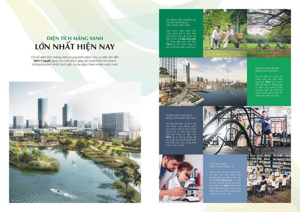 Mảng xanh lớn nhất tại Dự án Swan Park Nhơn Trạch Đồng Nai