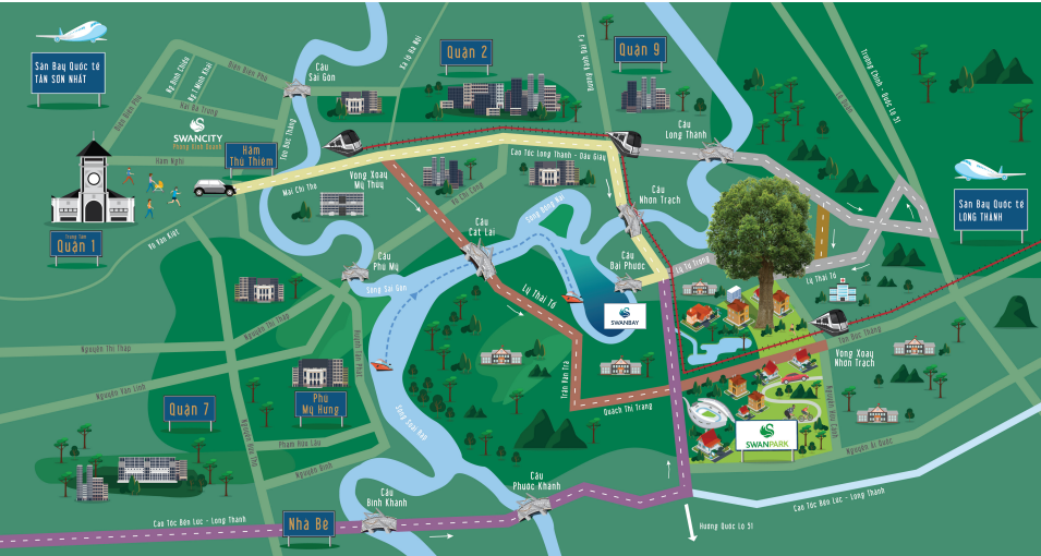 Vị trí Dự Án Nhà Phố Biệt Thự Swan Park Nhơn Trạch Đồng Nai