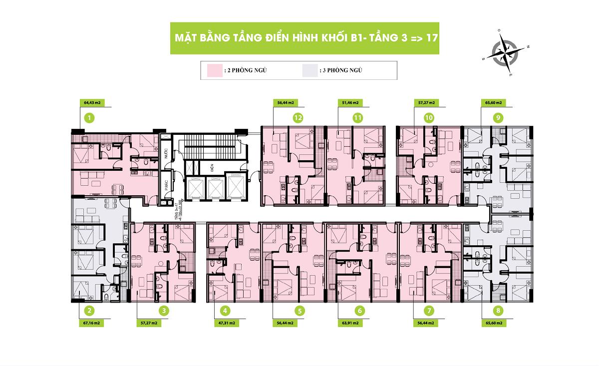 Mặt bằng Tầng Block B1 - Dự án Topaz Home 2