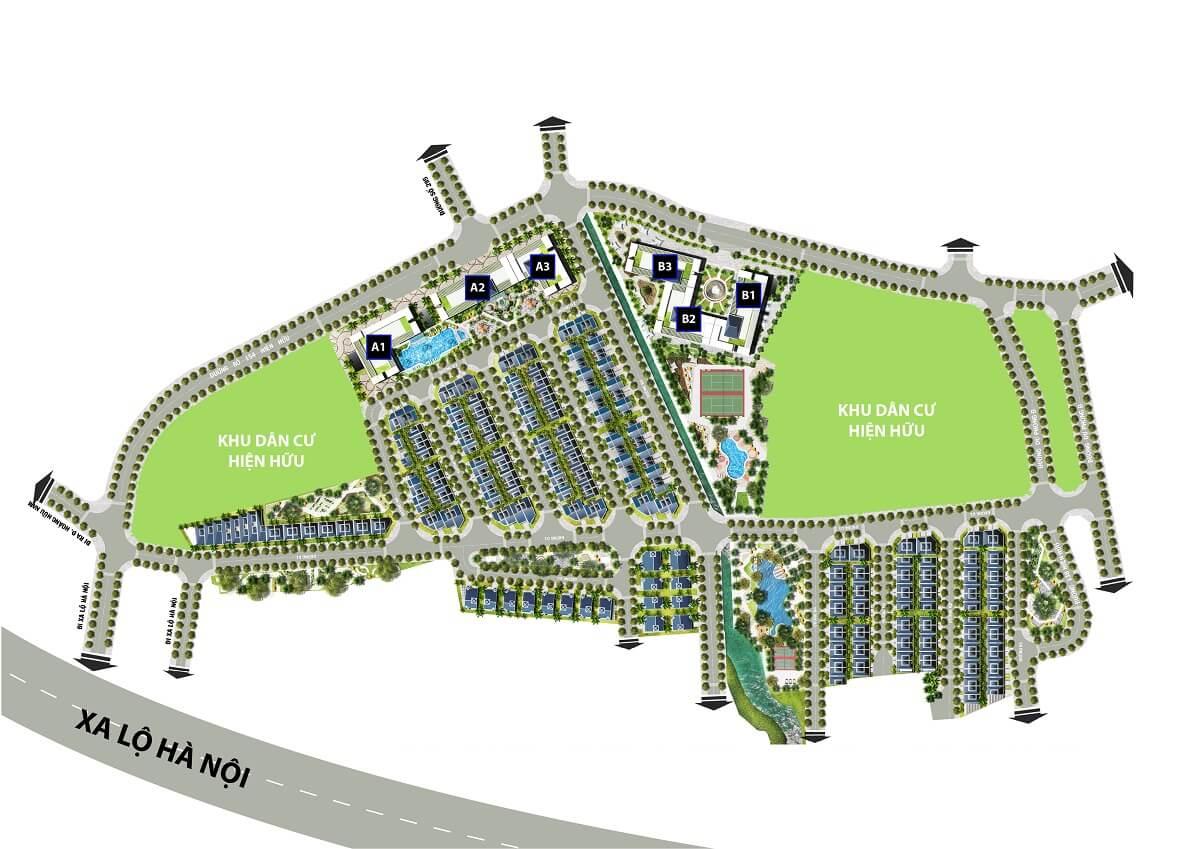 Mặt bằng tổng thể dự án căn hộ Topaz Home (1,4ha) & nhà phố Topaz Mansion (4ha)