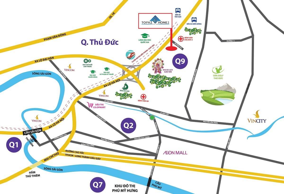 Vị trí Dự án Căn hộ Topaz Home 2 Quận 9