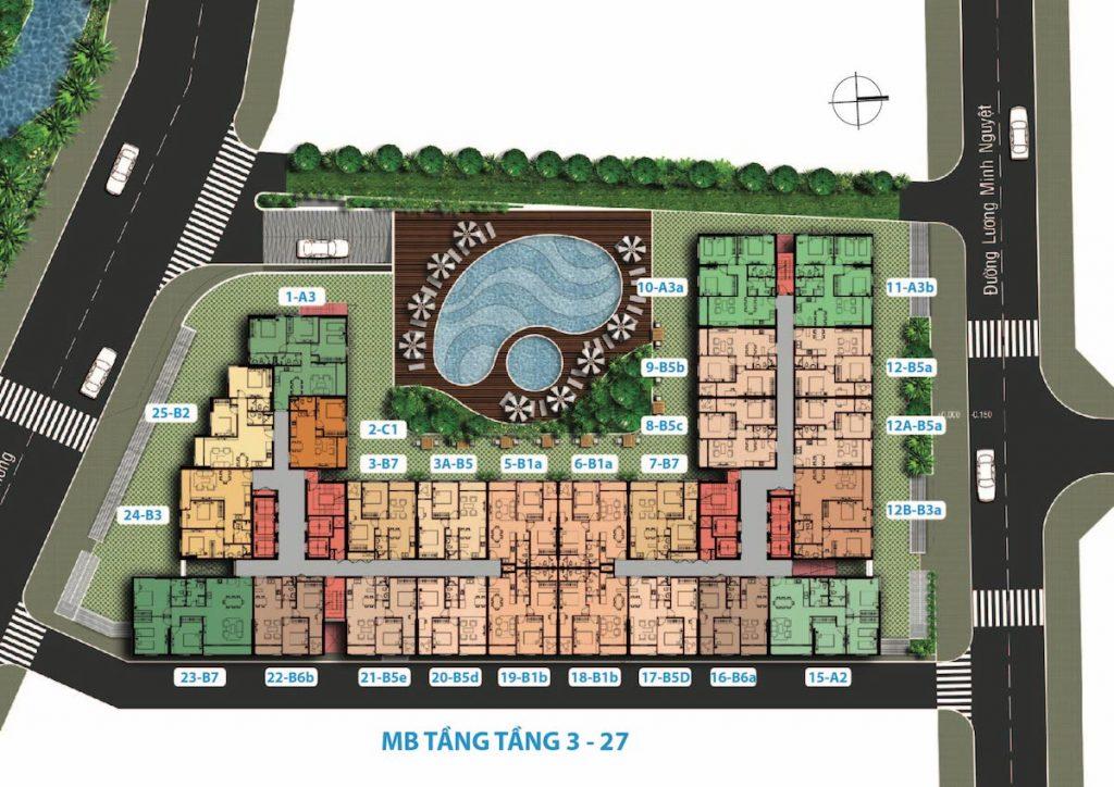 Mặt bằng Tầng 3-27 Dự án Căn hộ Carillon 7 Tân Phú