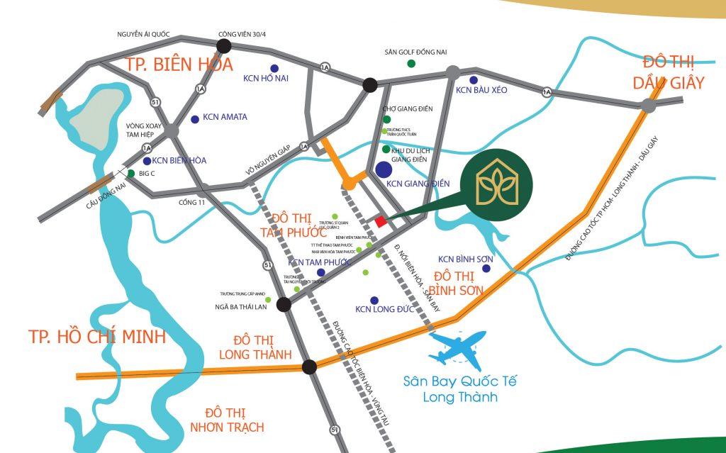 Vị trí Dự Án Biên Hòa Golden Town