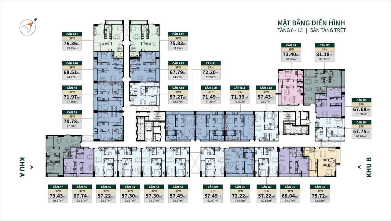 Mặt bằng tầng 6-13 Sàn không lửng Dự án căn hộ La Cosmo Tân Bình