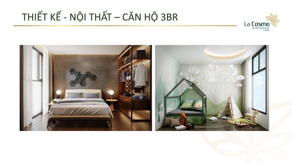 Nội thất căn hộ La Cosmo Residences 3 phòng ngủ
