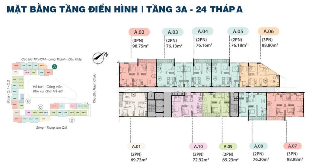 Mặt bằng Tầng Block A Dự án Căn hộ Shappira Khang Điền Quận 9