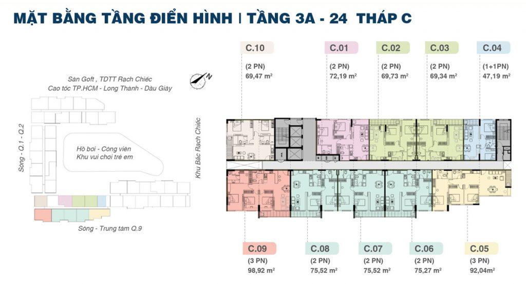 Mặt bằng Tầng Block C Dự án Căn hộ Shappira Khang Điền Quận 9