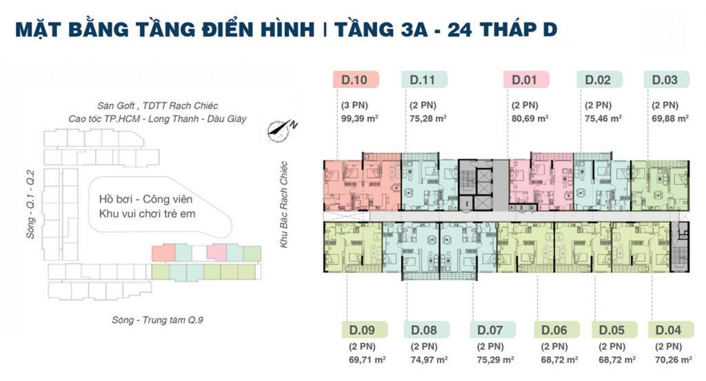 Mặt bằng Tầng Block D Dự án Căn hộ Shappira Khang Điền Quận 9