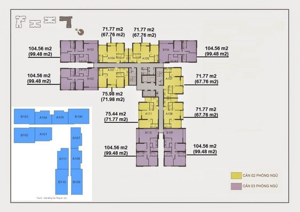 Mặt bằng tầng Dự án Căn hộ Seasons Avenue Quận Hà Đông Hà Nội