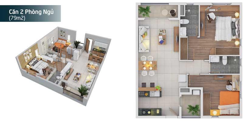 Thiết kế căn hộ 2 Phòng ngu Dự án Căn hộ Sky Symphony Nhà Bè