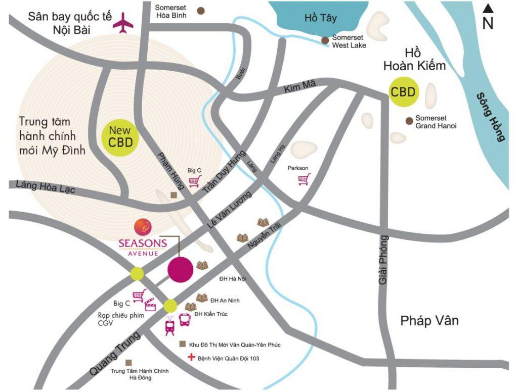 Vị trí Dự án Căn hộ Seasons Avenue Quận Hà Đông Hà Nội