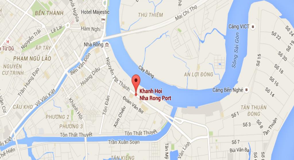 Vị trí Dự án khu phức hợp Nhà Rồng – Khánh Hội đường Nguyễn Tất Thành Quận 4