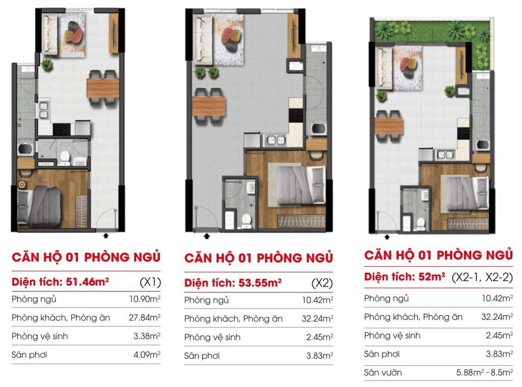 Thiết kế Căn hộ 1 Phòng ngủ Dự án Marina Riverside Bình Dương
