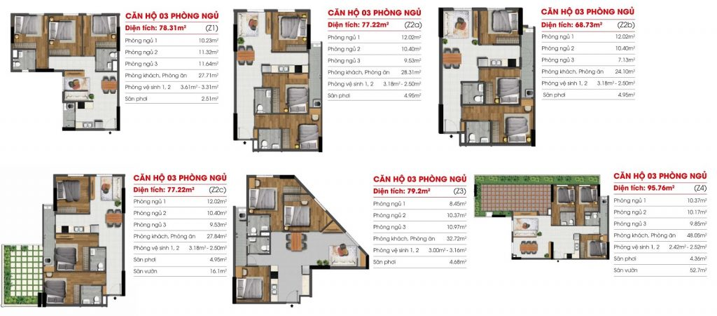 Thiết kế Căn hộ 3 Phòng ngủ Dự án Marina Riverside Bình Dương