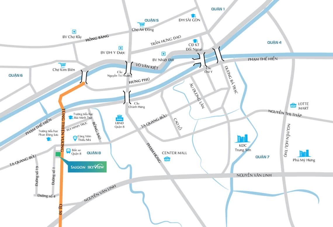 Vị trí Shophouse thương mại Sài Gòn SkyView Quận 8
