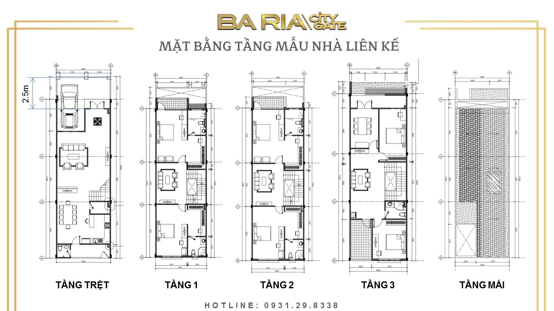 Mặt bằng thiết kế Nhà liên kế của Dự án Ba Ria City Gate