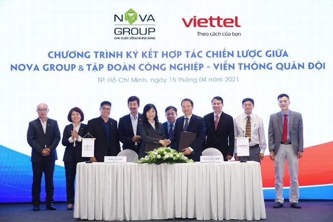 NovaGroup và Viettel ký kết hợp tác chiến lược trong nhiều lĩnh vực, trong đó bao gồm việc thúc đẩy triển khai giải pháp đô thị thông minh tại Aqua City. Ảnh: Novaland.